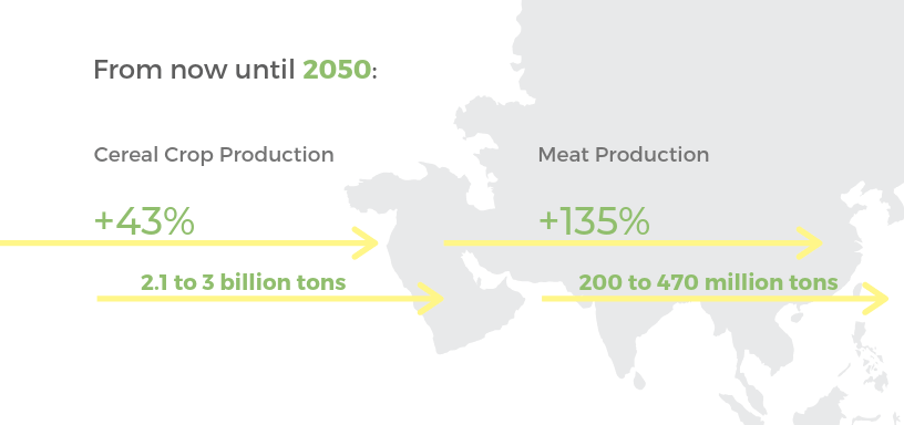 Crop production will need to increase 43% and meat production will have to increase to 135% to meet the needs of the 2050 problem